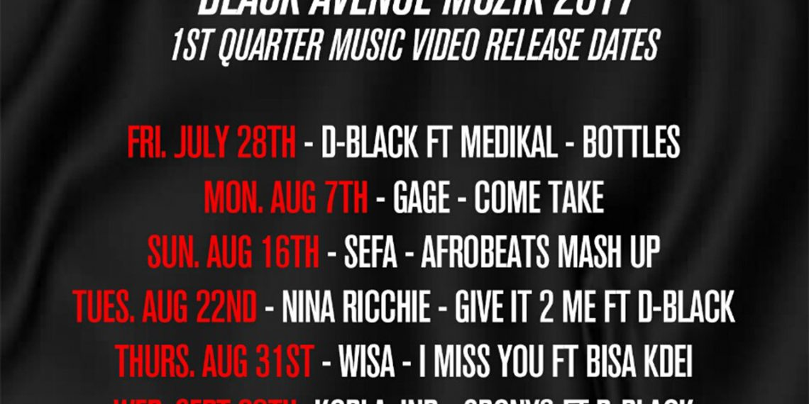 Black Avenue Muzik drops release dates for music videos