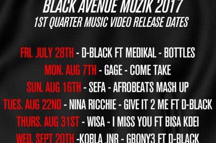 Black Avenue Muzik drops release dates for music videos